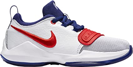 07bb5f771529 Amazon.com   Nike Kids  Preschool PG 1 Basketball Shoes (White Red ...