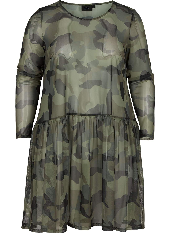 53e3942c74b0a8 Zizzi Damen Mesh Kleid Camouflage Transparent Langarm Army Große Größen 42- 56: Amazon.de: Bekleidung