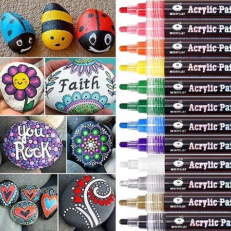 ✍️[Cumple con todas las necesidades de bricolaje]: estos marcadores de pintura acrílica no solo pued