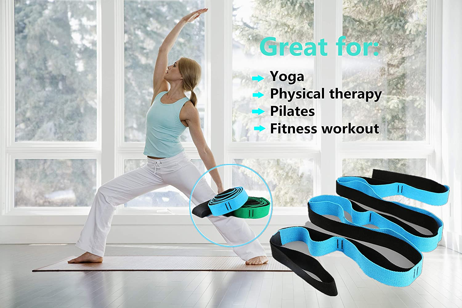Scotamalone Multi-Loop Yoga Stretch Strap Stretch Bands Exercise Bands Rehab Strap for Rehab Dance and Gymnastics with Instructional Guide Stretching,Physical Therapy Pilates