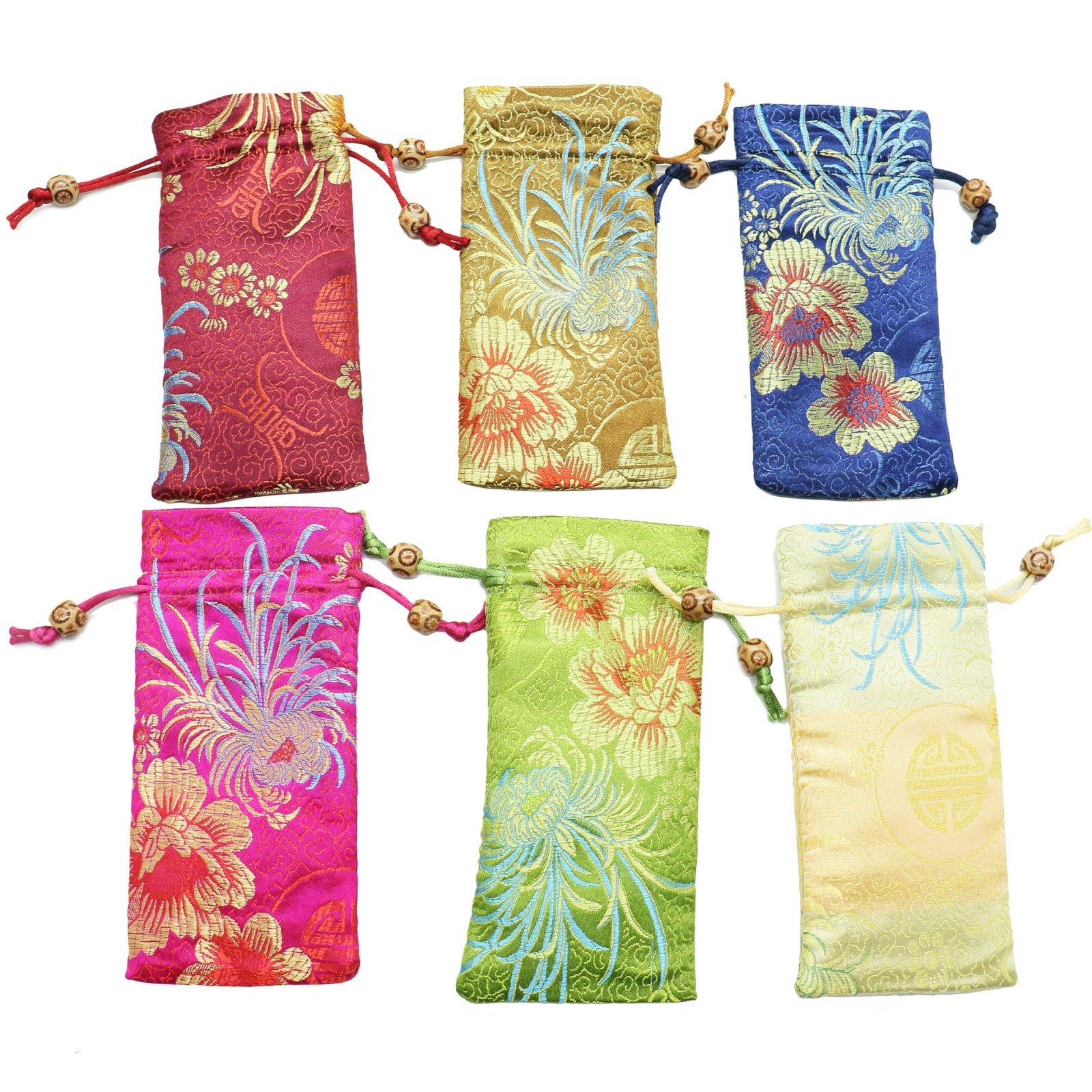 MAISHO Silk Brocade Pouch Bags, 6pcs Embossed Chinese Bead Drawstring Eyeglass Case Gift Bag