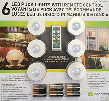 (Ship from USA) 6 LED Puck Lights with Remote Control & Batteries by Capstone