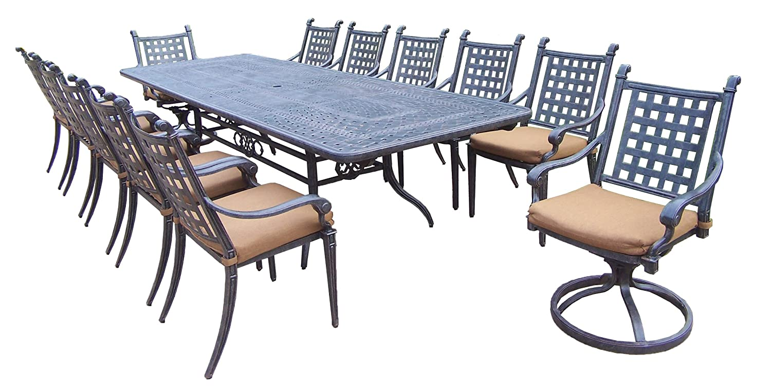 Amazon.com: Oakland Living Belmont 13 Piece Expandable Dining Table Set  With Sunbrella Cushions, 46 By 84 By 126 Inch: Garden U0026 Outdoor