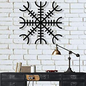 "Metal Wall Art, Metal Viking Decor, Nordic Mythology Vegvisir Runes and Symbols, Metal Wall Decor, Norse, Home Decor, Interior Decoration (24"" W x 24"" H / 60x60 cm)"
