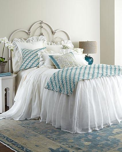 Charming BU White Organic Linen Gauze / Sheer Lined Skirted Coverlet King U0026 Queen  Size 30u0026quot;
