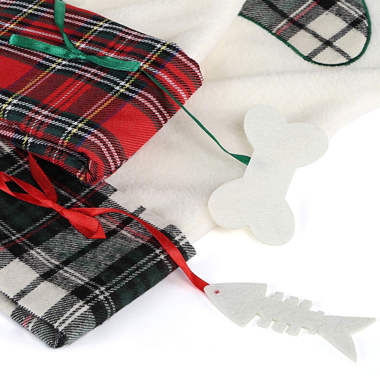 Conjunto en 2 Kesote 2 Calcet/ín de Navidad en Forma de Pata de Perro Calcet/ín de Navidad para Regalo Calcetines Decorativos para Hogar 45 x 20CM