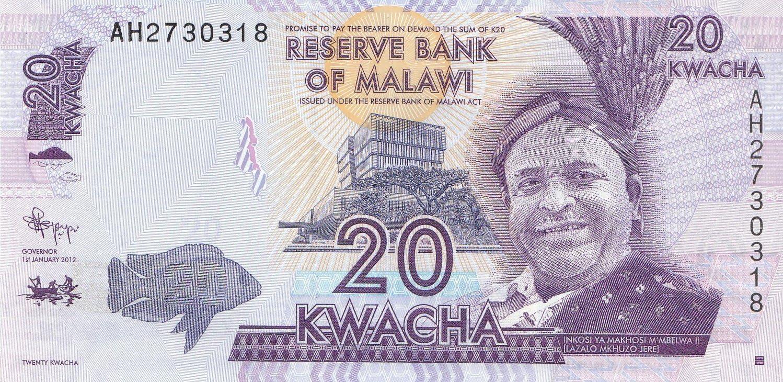 Banknoten f/ür Sammler 2012 20 Kwacha College I Malawi Pick-Nr: 57a bankfrisch