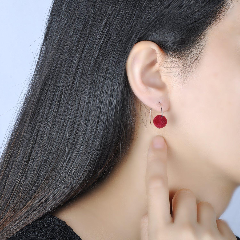 Yumilok Jewelry 925 Sterling Silver Colourful Round Ball Medium Hoop Dangle Hypoallergenic Earring for Women//Ladies//Girls