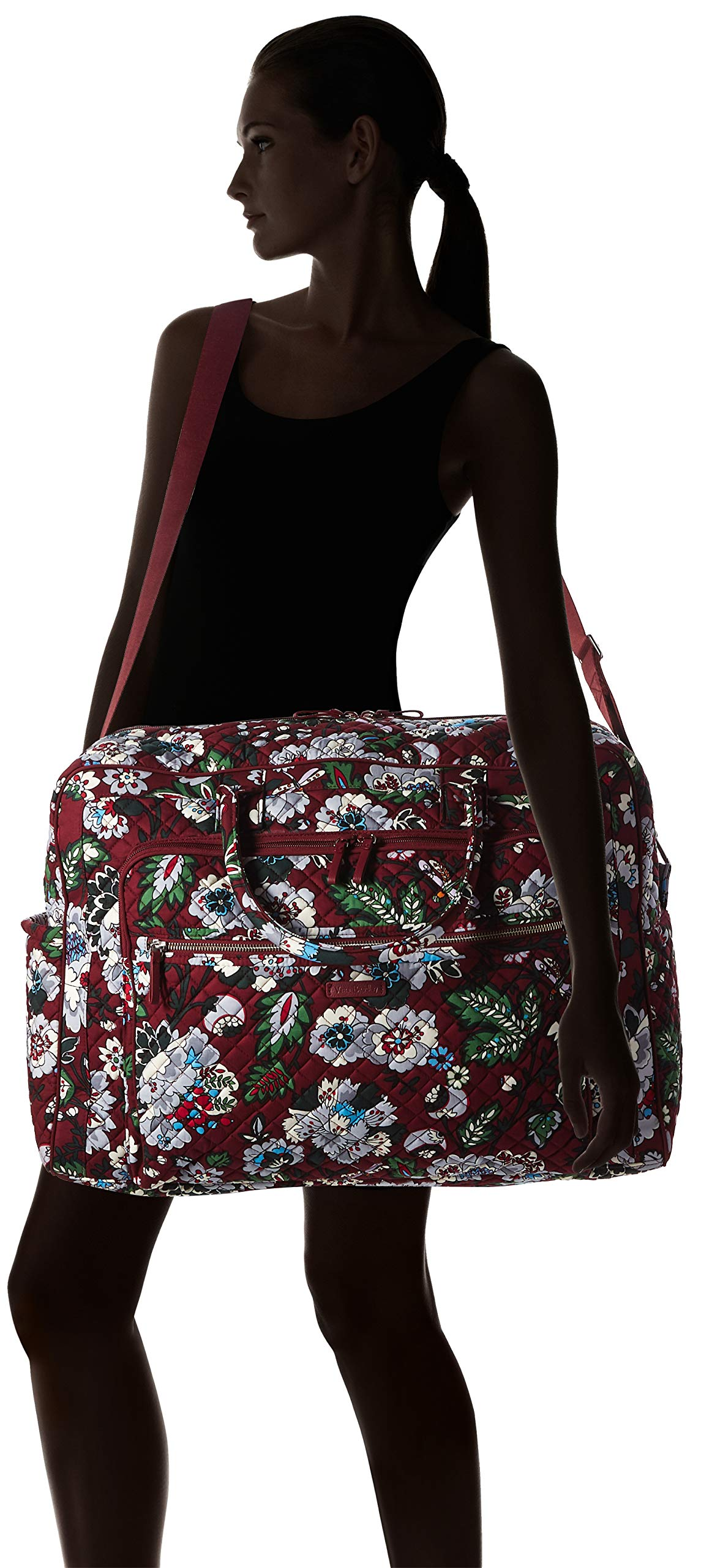 Vera Bradley Iconic Grand Weekender Travel Bag, Signature Cotton, bordeaux blooms by Vera Bradley (Image #9)