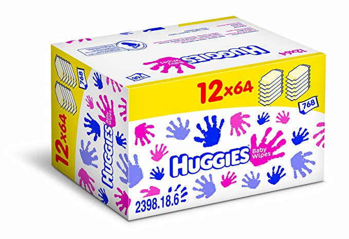 Huggies 2398185 - Toallitas de bebé (12 packs de 64)