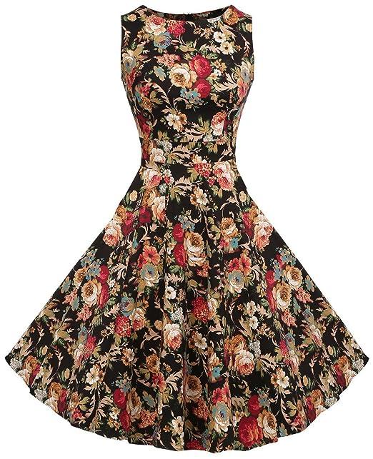 U-shot vestido de mujer, floral años 50 estiloVintage Rockabilly