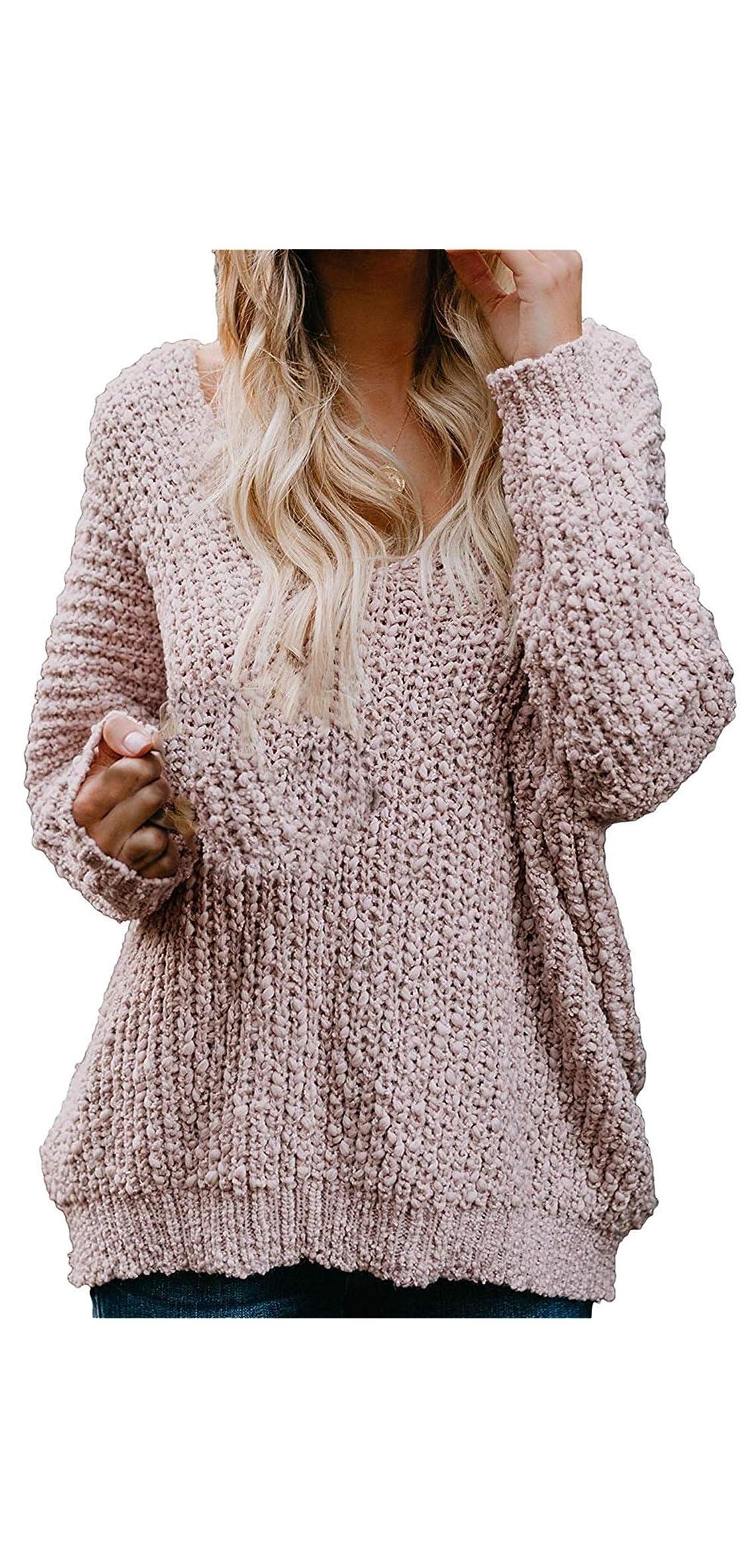 Women Off Shoulder Sweaters V Neck Long Sleeve