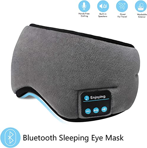 Bluetooth Sleeping Eye Mask Headphones,SKYEOL 4.2 Wireless Bluetooth Headphones Adjustable Washable Music Travel Sleeping Headset with Built-in Speakers Microphone Hands-Free for Sleeping Grey