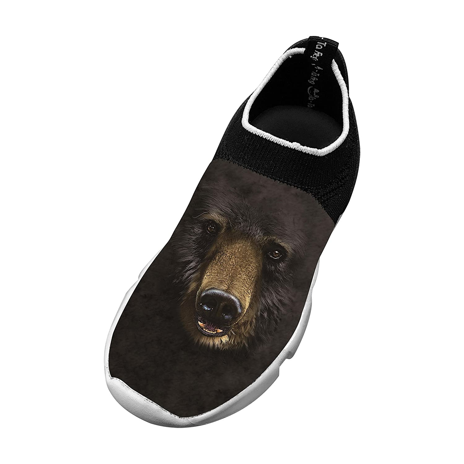 New Cool Flywire Knitting Sports Shoes 3D Original With Black Bear Face For Boy Girl