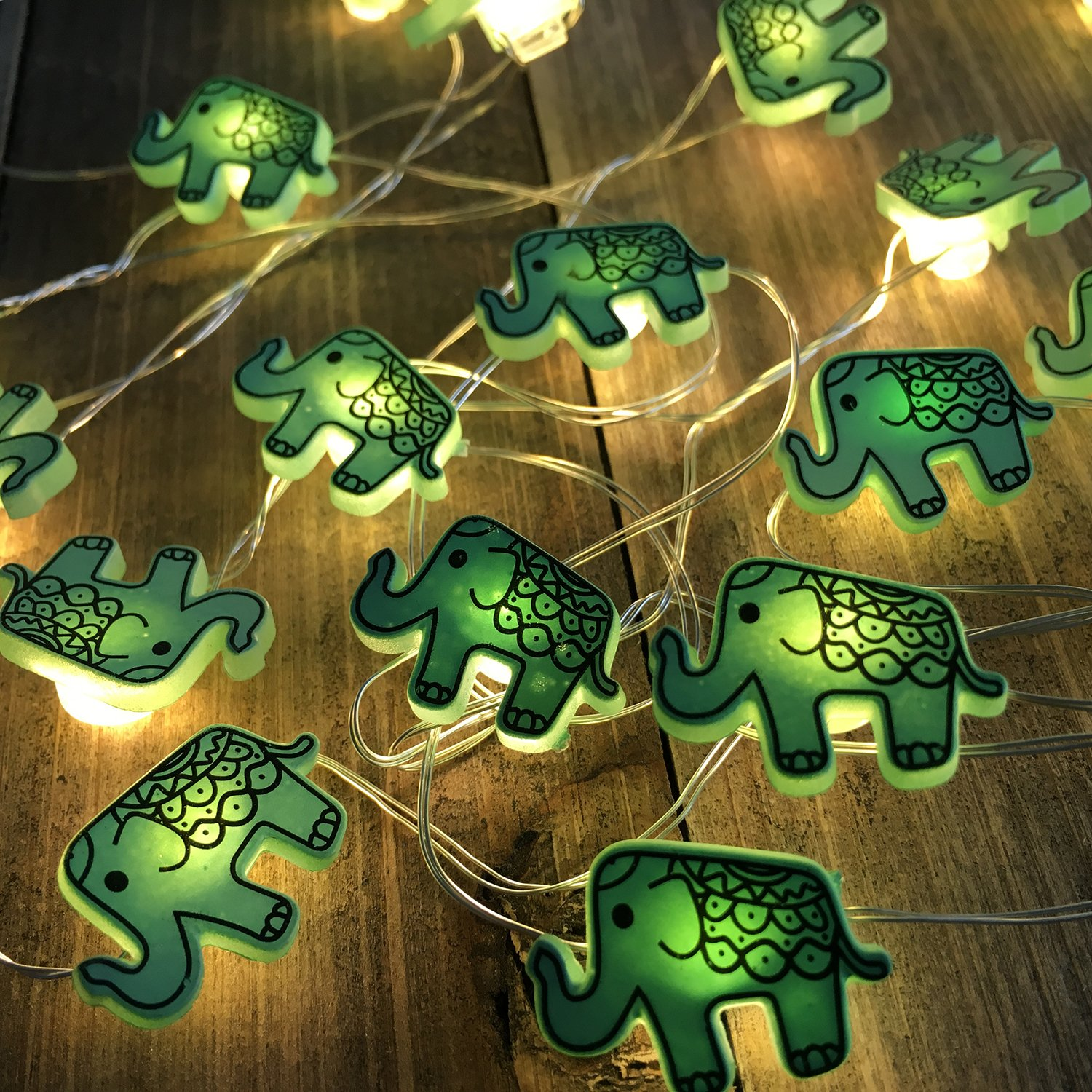 Animal Novelty Lights String Battery Operated with Timer Control 20 Micro LED Wire Lights Waterproof 2 Pack Elephant String Lights for Home Decoration,Kids Bedroom,Christmas,Holiday,(ELE2) by VagaryLight (Image #2)