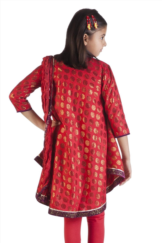 MB Girls Indian Kurta Tunic with Gold Print Churidar and Dupatta Scarf Pants