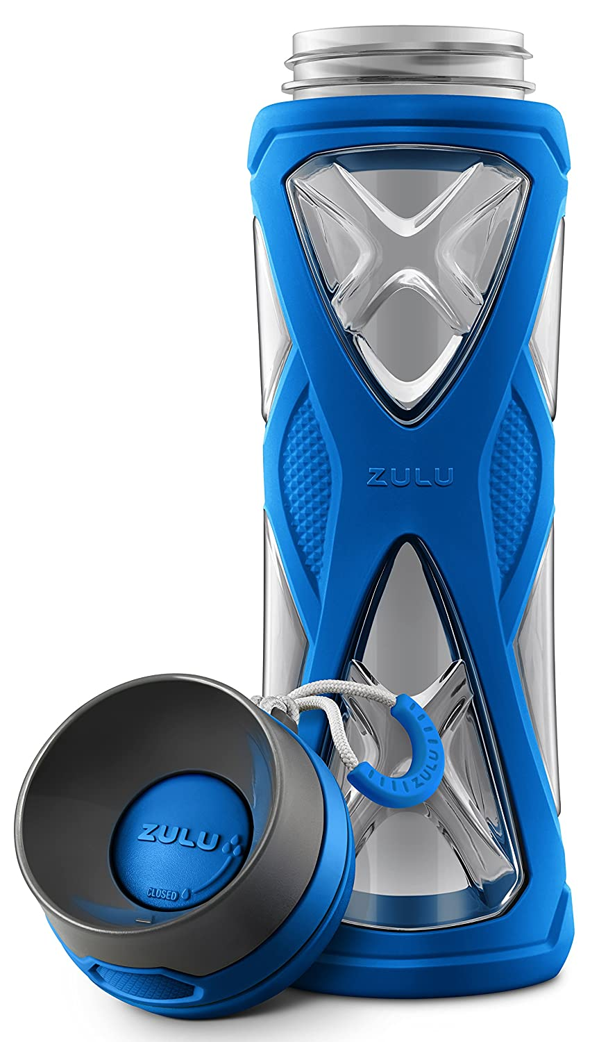 dda62b14d9 Amazon.com : Zulu Charge BPA-Free Plastic Water Bottle with 360 Dial-a-Flow  Lid, Blue, 24 oz : Sports & Outdoors