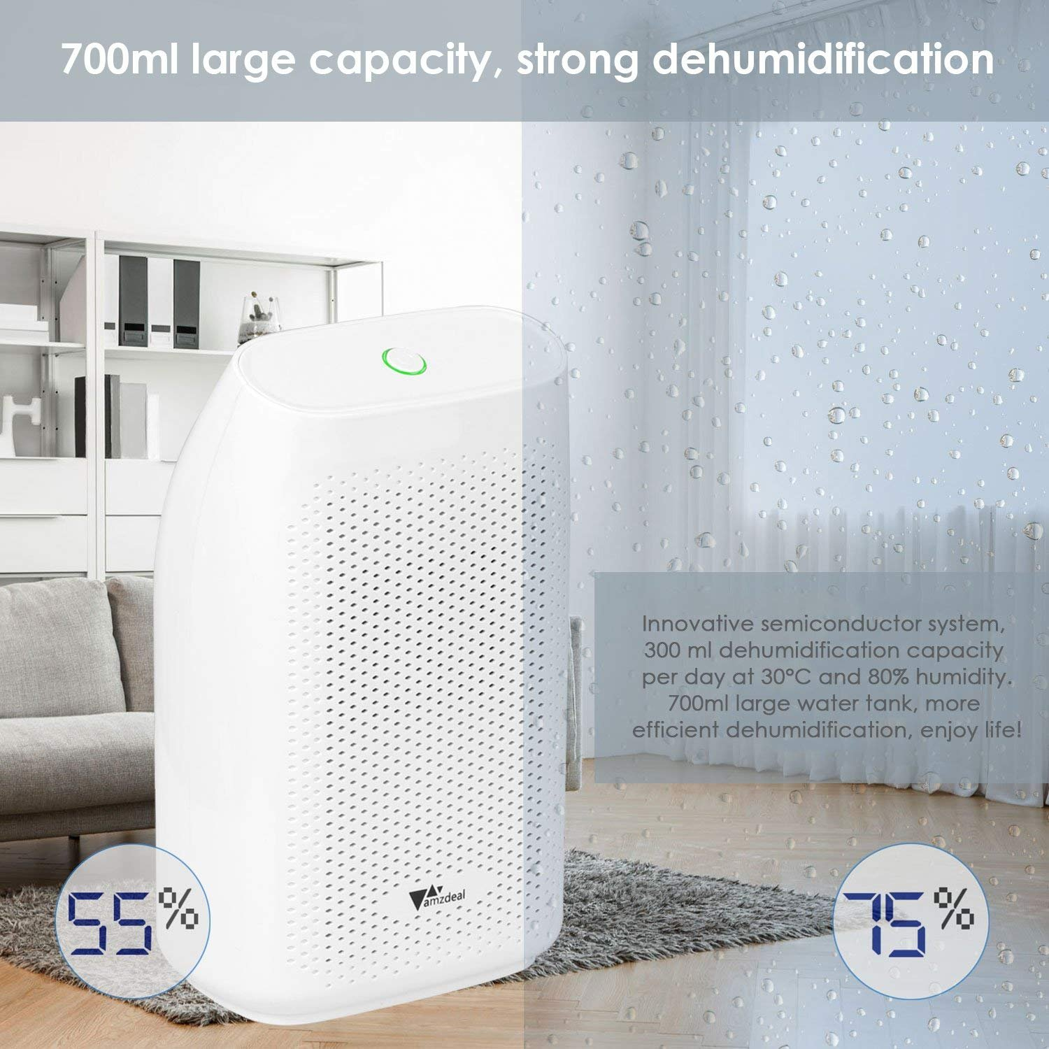 amzdeal Dehumidifier for Home Small Dehumidifier Mini Electrical Quiet 700ml (24fl.oz) Capacity Suitable for Bedroom Basement Bathroom(1200 Cubic Feet or 215 sq ft) Auto Off to Remove Damp, Moisture by amzdeal (Image #4)