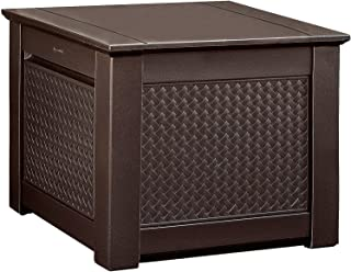 product image for Rubbermaid Decorative Patio Chic Weather Resistant Outdoor Storage Deck Box Cube, Dark Teak