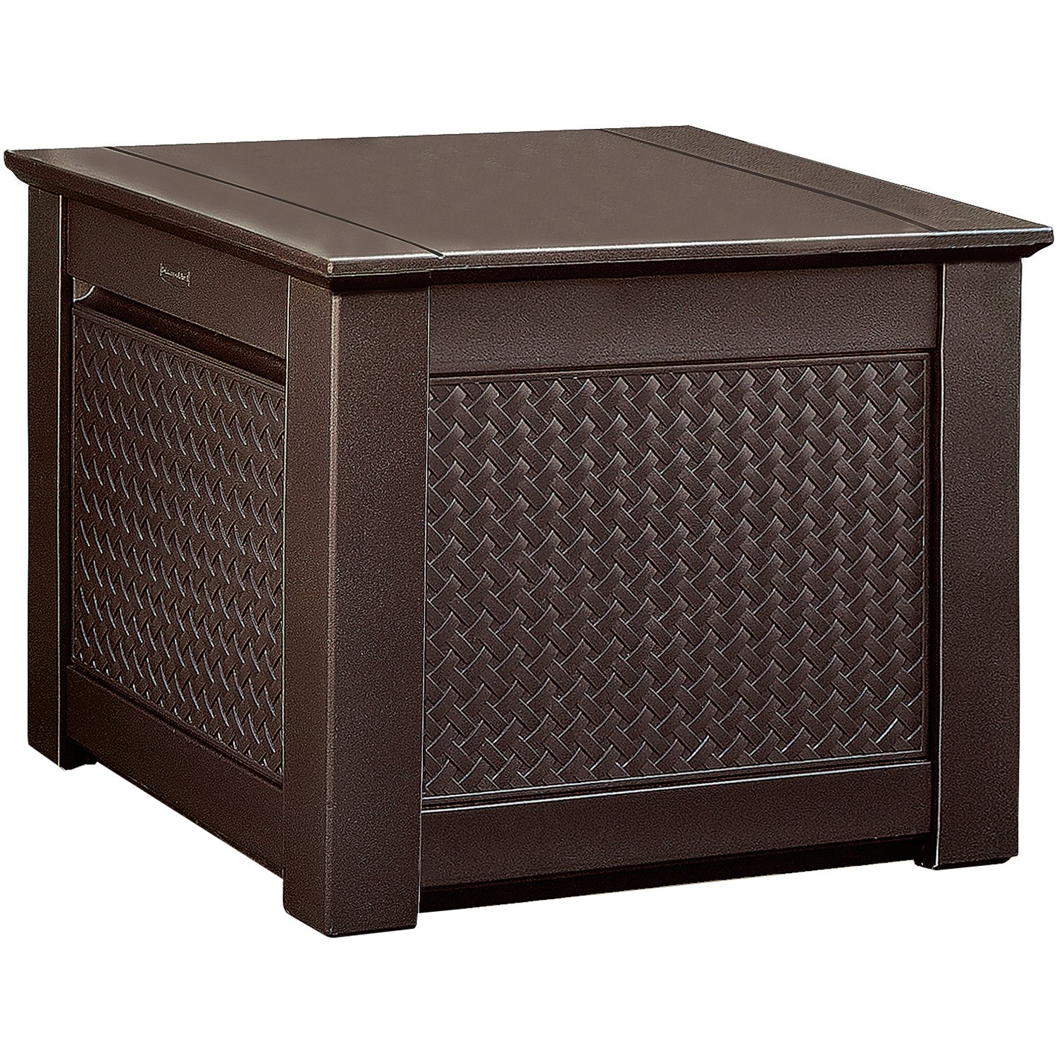 Rubbermaid 1837303 Outdoor Storage Cube with Dark Teak Basket Weave Design Rubbermaid Lawn & Garden