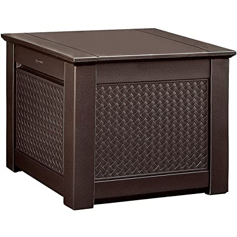 Rubbermaid Patio Chic Outdoor Storage Deck Box, Cube, Dark Teak Wicker  Basket Weave (
