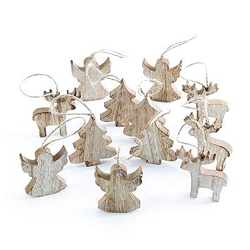 Amazon De 12 Kleine Holz Weihnachtsanhanger Baum Engel Rentier