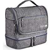 Toiletry Bag, VAGREEZ Upgraded Hanging Travel Toiletry Organizer Kit with Heavy-duty Zippers Waterproof Comestic Bag Dop Kit for Men or Women (Light Grey)