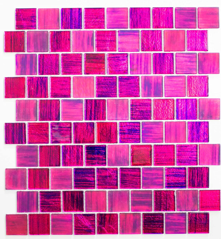 123mosaikfliesen Fliesen Mosaik K/üche Bad WC Wohnbereich Fliesenspiegel gl/änzend pink 4mm Neu #K700