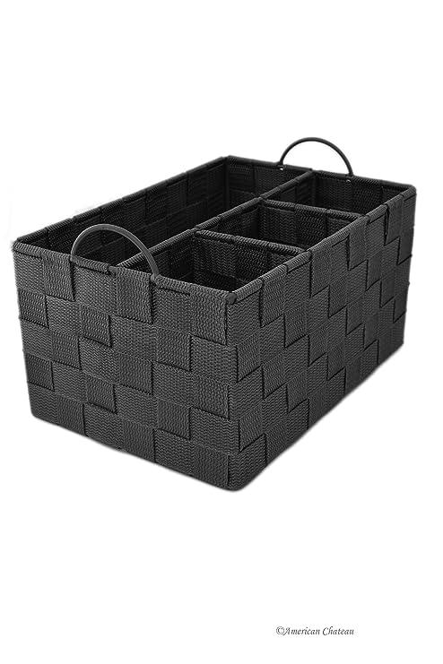 Gris Nylon Weave cubertería utensilios de cocina Caddy organizador cesta de soporte con asas