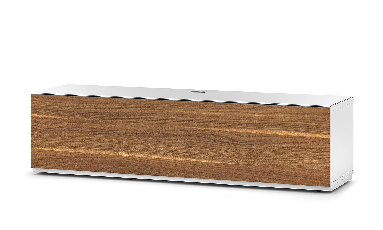 Sonorous STA 160F-WHT-WNT-BW hängende TV-Lowboard mit Sockel, weißer Korpus, obere Fläche, gehärtetem Weißglas und Klapptür in Holzdekor Walnuß
