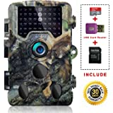 """SOVACAM Trail Camera,16MP 1080P 2.4"""" LCD HD Deer Hunting Camera with 46pcs 850nm Low-Glow IR Leds and 120° PIR Sensors,Up to 0.2s Trigger Time,Up to 65ft Night Vision,IP 56 Waterproof, Camouflage"""
