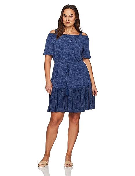 London Times Women\'s Plus Size Off The Shoulder Jersey Blouson Dress