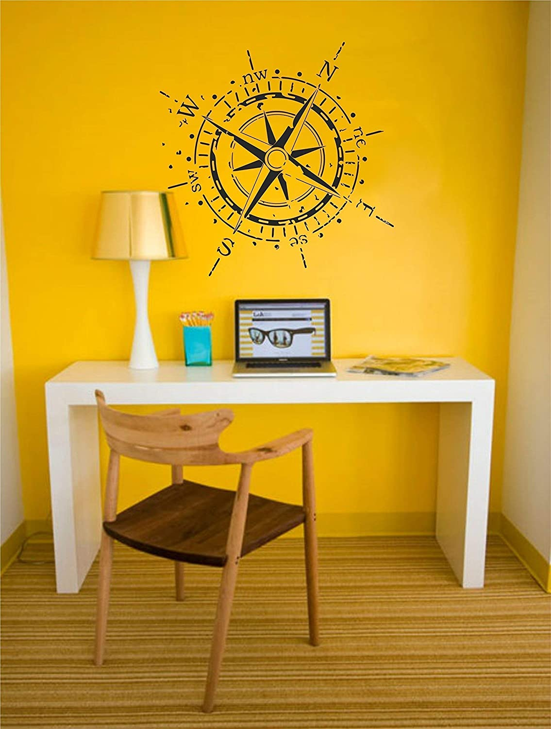 High Quality Removable Vinyl Sticker Decor Wallency Navigation Compass Rose Wall Decal