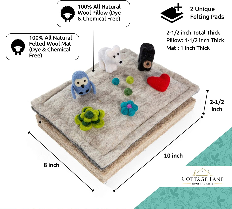 Natural Pure 2 Unique Mats Safe Woolen Needle Felting Mats by Fair Trade Artisans 100/% Natural 8 x 10 x 2-1//2 inch 3 Felting Options