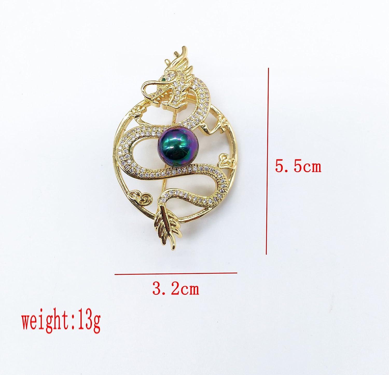 Yazilind Dragons Jouer Perles Broche cuivre cuivre incrust/é Corsage Bijoux Or V/êtements Accessoires pour Femmes Filles
