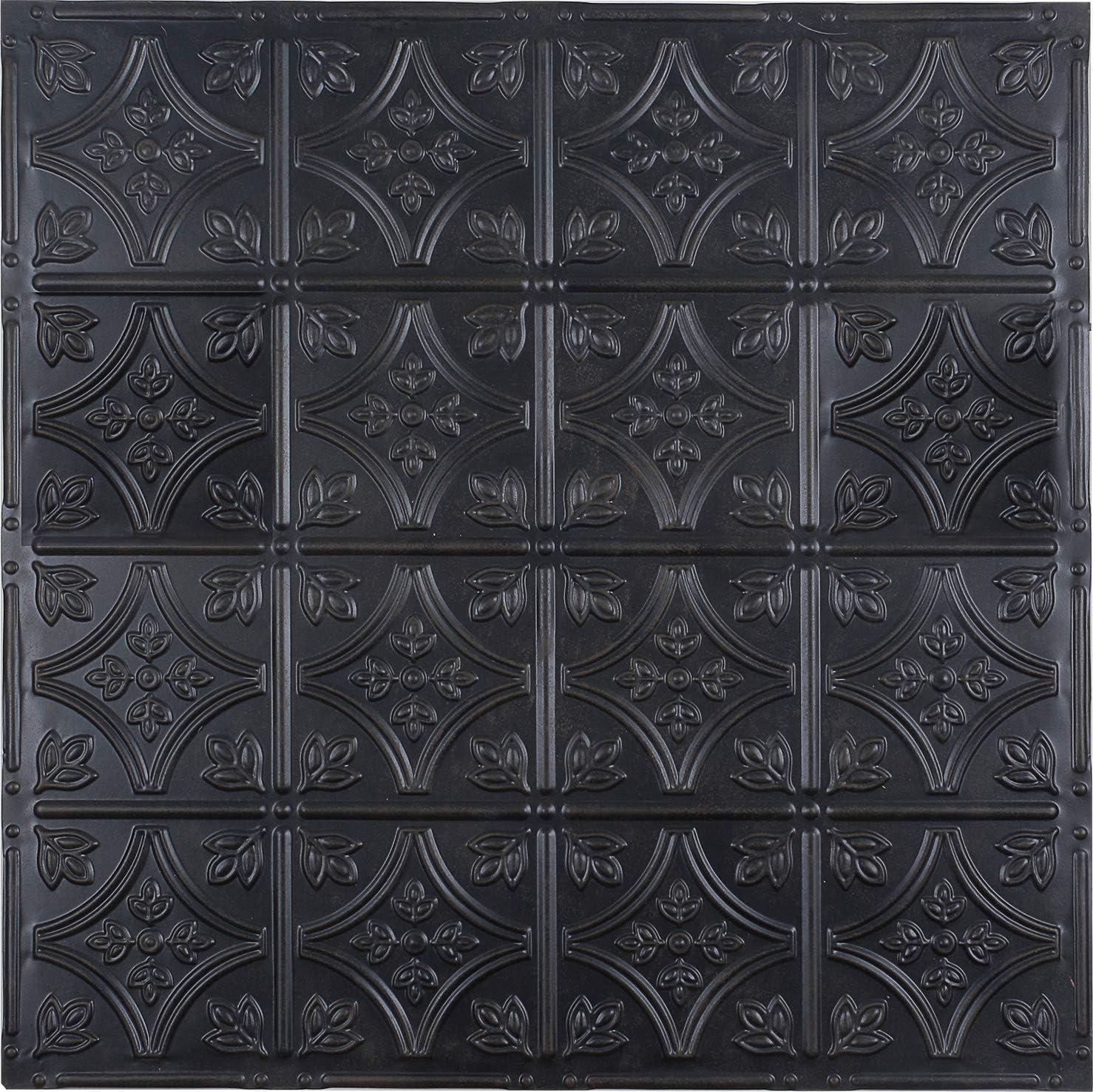 Holydecot Tin Wall Tiles 24x24 Nail-Up Tin Wall Tile, 5 Pack (Black)