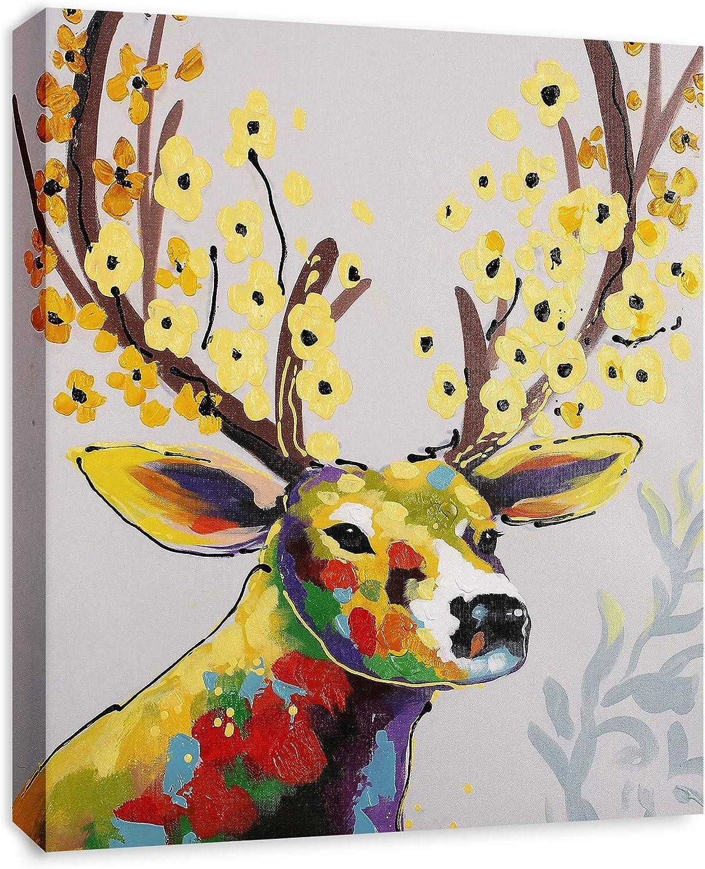 Amazon Com Art Hub Colorful Deer With Flowers Modern Pop Animal Art Framed Canvas Print Home Decor Wall Art Gallery Wrap Inner Frame 24x30 Posters Prints