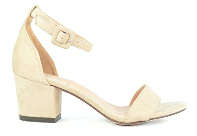 8d15894f7b Amazon.com | Chase & Chloe Venus-4 Ankle Strap Women's Low Heeled ...