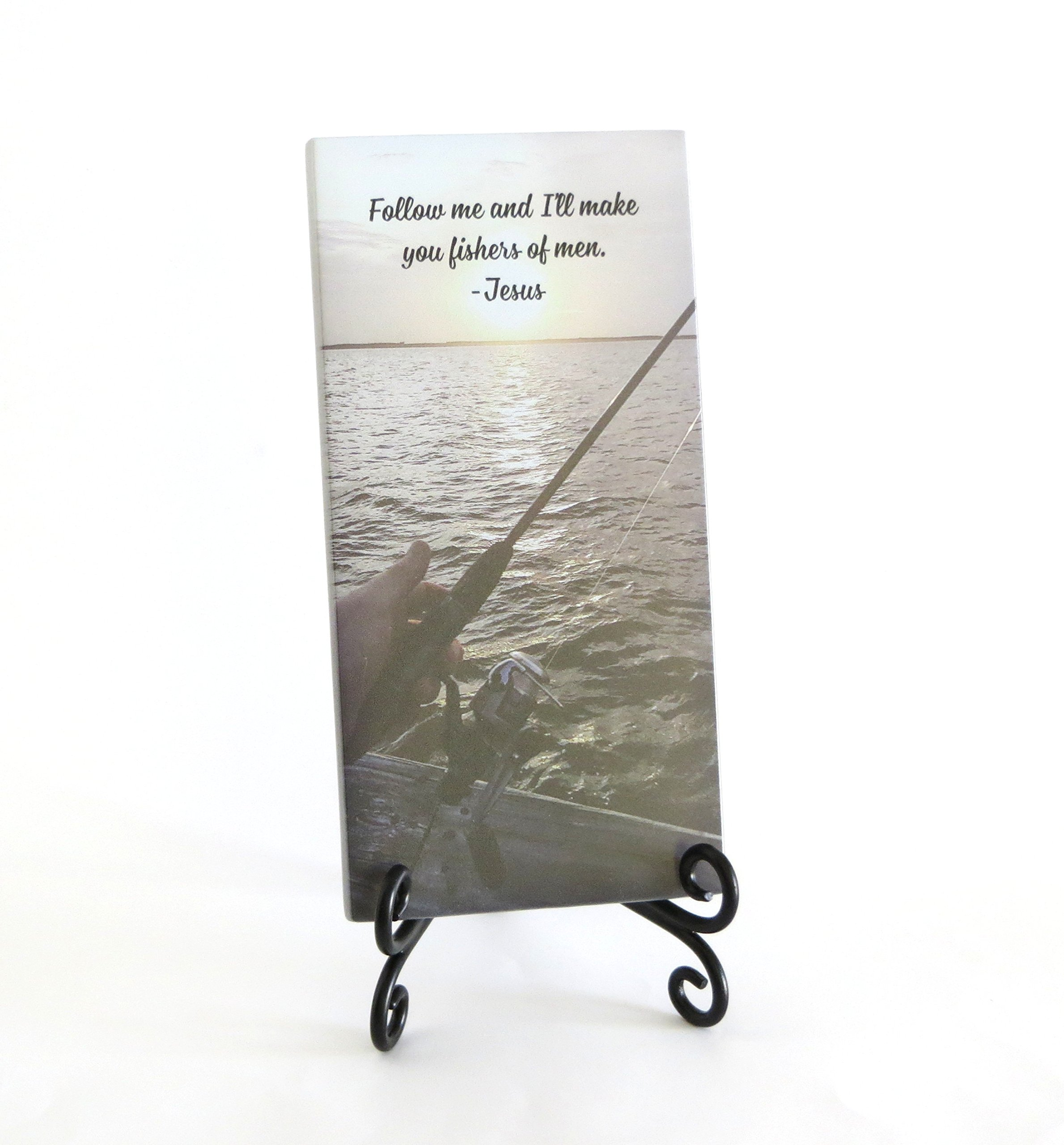 Lifeforce Glass Fishers of Men Inspirational Glass Plaque. for Your Favorite Christian Who Loves to Fish. Serenity for Your Desk, Folding Easel Included