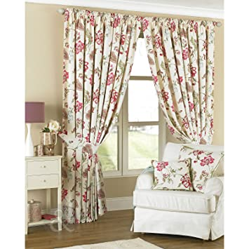 Green Curtains cream green curtains : Fully Lined Floral Curtains + FREE Tie Backs - Cream Green Pink ...
