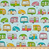 Kaufman On The Road Metallic Campers Aqua Fabric By The Yard