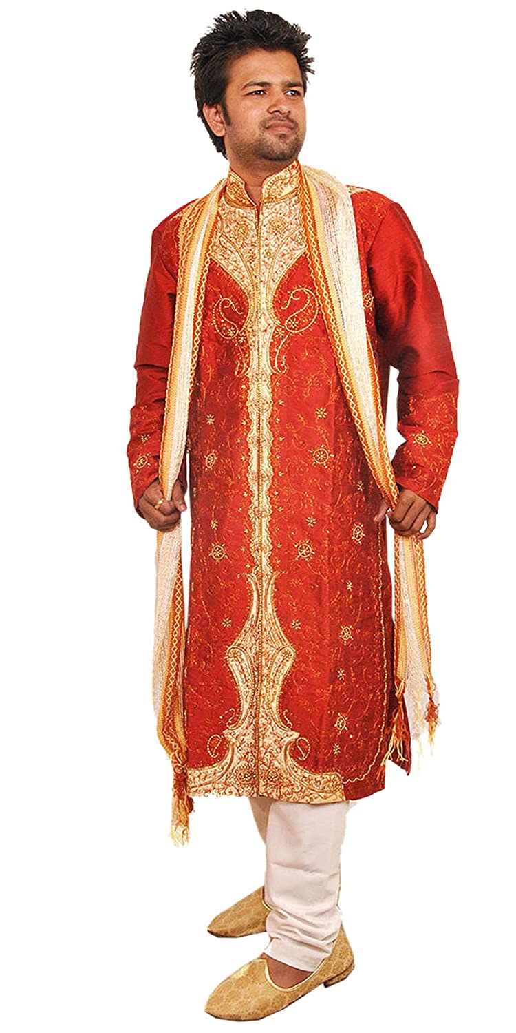 d61baf90ff Amazon.com: Apparelsonline Men's Silk Wedding Indian Party Wear Sherwani  Suit: Clothing