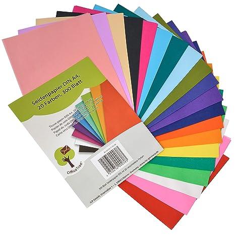 c1736947f3c90 OfficeTree® papier de soie 300 feuilles A4 - papier vitrail - 20 couleurs -  bricolage