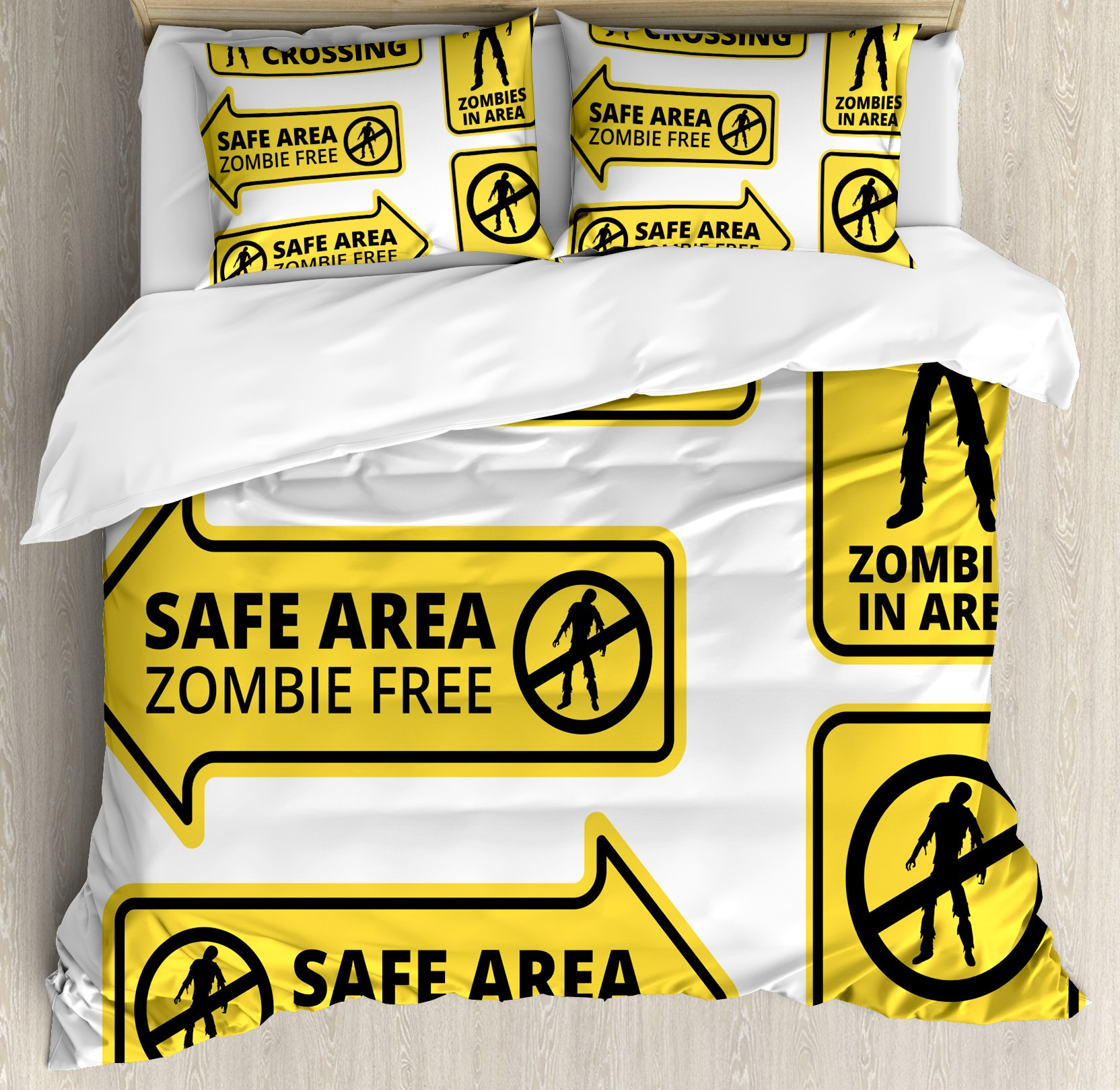 Ambesonne Zombie Duvet Cover Set Queen Size, Safe Area Zombie Free Safe Protection Zone Caution Sign from Horror Movie Design, Decorative 3 Piece Bedding Set with 2 Pillow Shams, Yellow Black