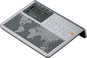 Howard Miller Atlas World Clock and Calculator 645-761 – Digital Travel Alarm for Desk