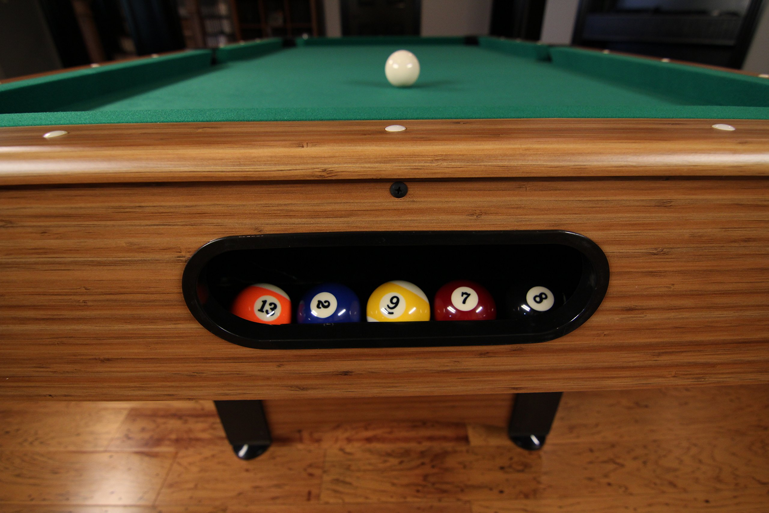 Mizerak Dynasty Space Saver 6.5' Billiard Table with Compact Design to Fit in Smaller Rooms, Leg Levelers for Perfectly Even Playing Surface, Double-sealed MDF Play-bed for Consistent Roll and Automatic Ball Return for Quick Game Reset by Mizerak (Image #4)