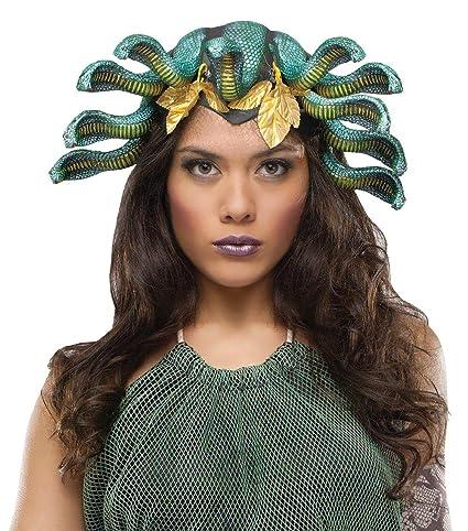 Medusa cabeza serpiente para mujer peluca disfraz sombrero adulto mitología griega