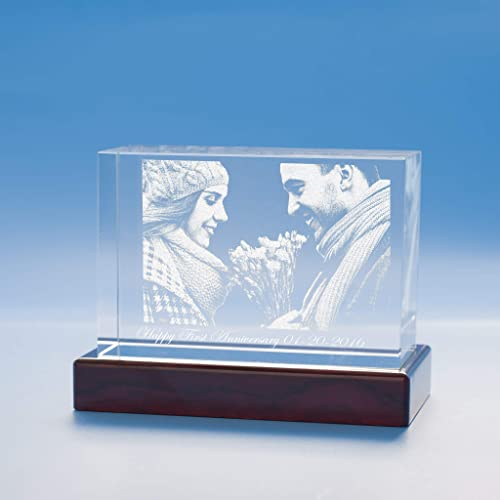 Anniversary Brick Crystal, 3D Engraved – XX-Large with Wood Grain Base