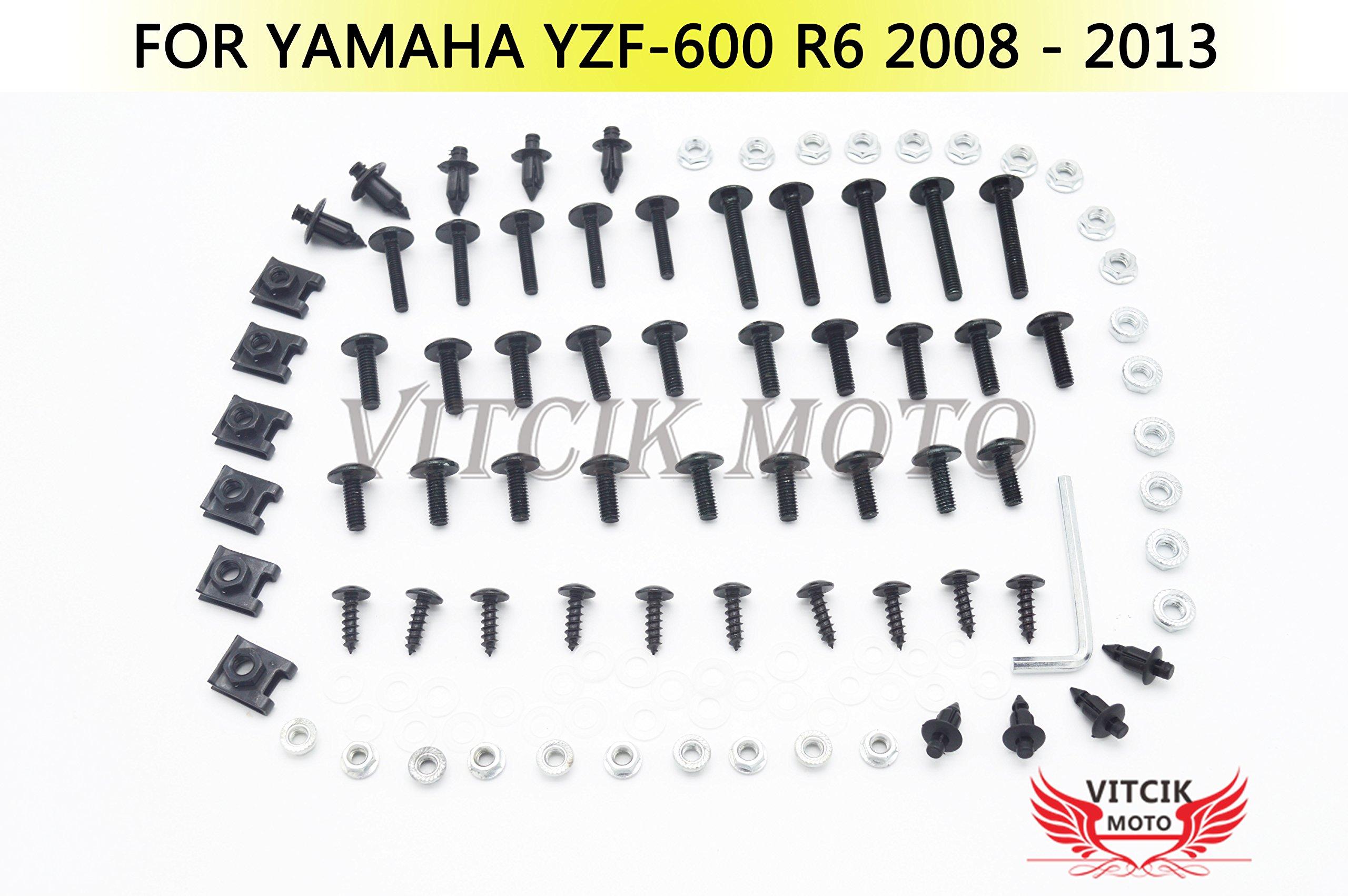 VITCIK Full Fairings Bolt Screw Kits for Yamaha YZF - 600 R6 2008 2009 2010 2011 2012 2013 Motorcycle Fastener CNC Aluminium Clips (Black & Silver)
