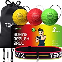 TEKXYZ Boxing Reflex Ball, 3 Difficulty Levels Boxing Ball with Headband, Softer Than Tennis Ball, Perfect for Reaction…